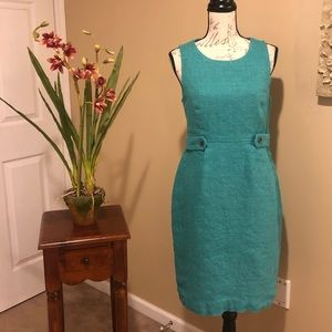 J. CREW Turquoise Attaché Linen Canvas Dress. SZ 8